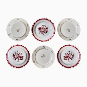 Bohemian Dessert Plates from Sarreguemines, 1940s, Set of 6