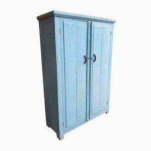 Light Blue Wooden Locker Cabinet, 1950s