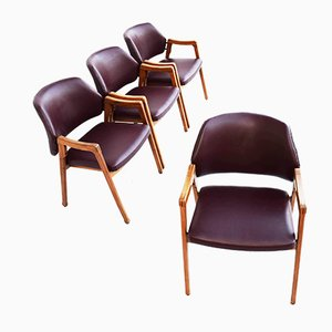 Walnut Model 814 Armchairs by Ico Luisa Parisi for Cassina, 1963, Italy, Set of 4