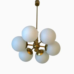 Mid-Century Italian Brass and Glass Chandelier with 6 Globes, 1970s