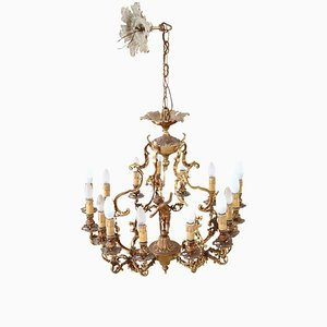 Vintage Gilt Bronze Chandelier, 1930s