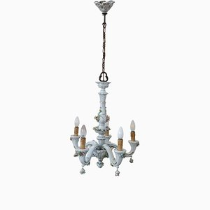 Porcelain Chandelier with Floral Decoration from Capodimonte, 1950s
