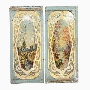 Antique Art Nouveau Decorative Panels, Set of 2
