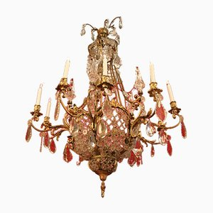 Large Bronze & Crystal 10-Light Chandelier, 19th Century