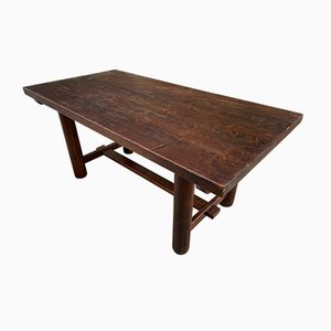 Fir Dining Table with Round Legs, 1950s