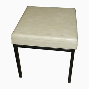 Black & White Leatherette and Steel Stool from Tamburin, 1960s