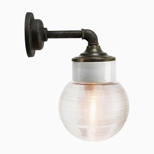 Mid-Century Industrial White Porcelain, Ribbed Glass & Brass Sconce