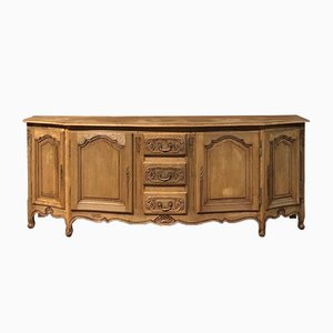 Antique French Bleached Oak Bow Front Sideboard