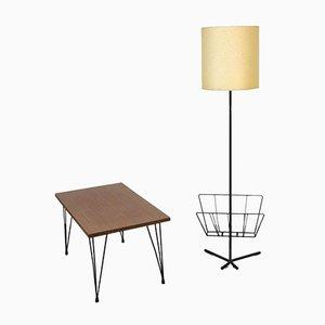 Floor Lamp & Coffee Table Set, 1950s, Set of 2