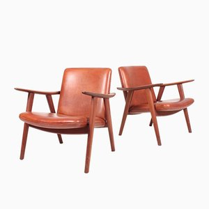 Patinated Leather Lounge Chairs by Hans J. Wegner for Johannes Hansen, 1950s, Set of 2