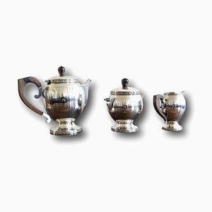 Art Deco Kaffeeservice aus Versilbertem Metall & Palisander, 1920er, 3er Set