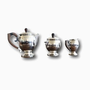 Art Deco Silver Plated Metal & Rosewood Coffee Service, 1920s, Set of 3