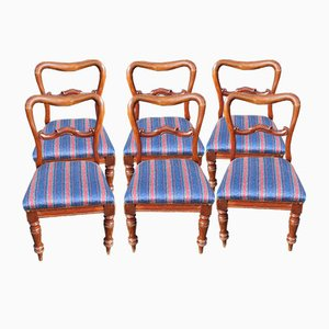 Antique Victorian Mahogany Heart-Shaped Chairs with Pop-Out Seats, Set of 6