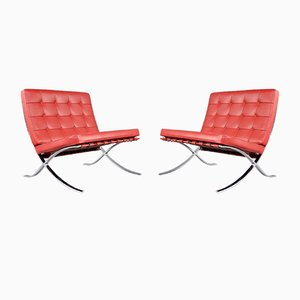 Barcelona Chairs by Ludwig Mies van der Rohe for Knoll, 1990s, Set of 2