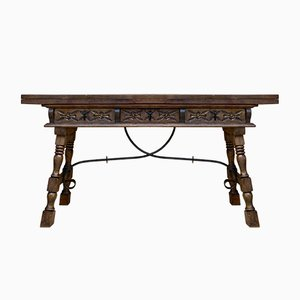 Early 20th Century Spanish Fold Out Console Table with Iron Stretcher & 3 Drawers