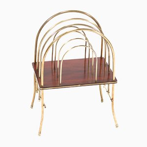 Antique French Art Nouveau Brass & Mahogany Magazine Rack, 1900s