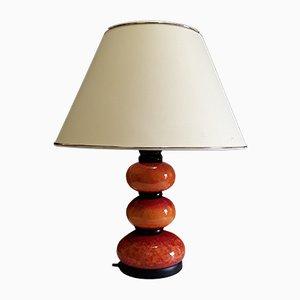 Vintage Orange Ceramic Table Lamp with Cream White Fabric Shade & Black Metal Details, 1970s