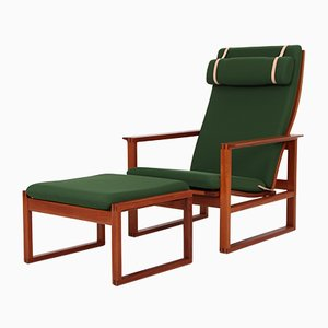 2254 Armchair & 2248 Footstool by Børge Mogensen for Fredericia, 1960s, Set of 2