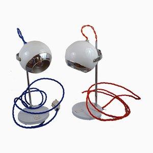 Französische Eyeball Tischlampen von Pierre Disderot, 1960er, 2er Set