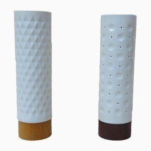 Kleine Minimalistische Tischlampen aus Holz mit Porzellanschirmen von Wallendorfer Porzellanmanufaktur, 1960er, 2er Set