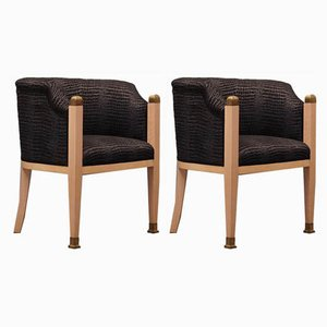 Austrian Maple and Brass Armchairs, 1940s, Set of 2