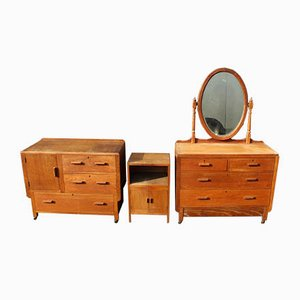 Arts and Craft Style Oak Bedroom Suite, 1940s, Set of 3