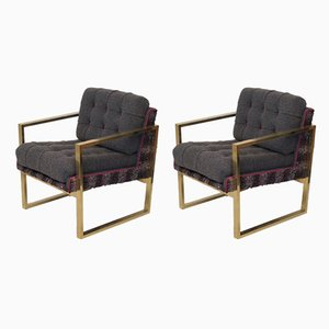 Italian Brass and Fabric Armchairs, 1950s, Set of 2
