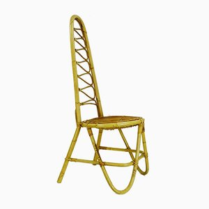 Bamboo & Rattan High Back Side Chair, 1960s