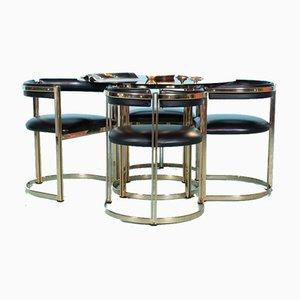 Chaises de Salle à Manger & Table Style Régence en Laiton, 1960s, Set de 5