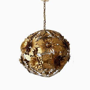 Gilt Metal Floral Pendant Lamp, 1960s