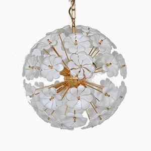 Italian Floral Murano Glass Sputnik Ceiling Lamp, 1970s