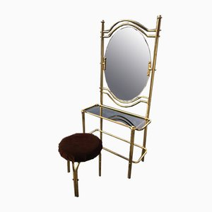 Vintage Brass Dressing Table & Stool, 1950s, Set of 2