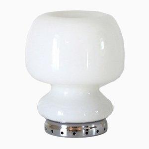Weiße Opalglas Tischlampe, 1950er