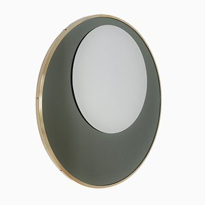 Italian Round Wall Mirror with Double Glass in Olive Green and Brass Frame, 1970s