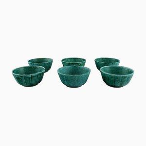 Bowls in Glazed Ceramics by Wilhelm Kåge for Gustavsberg, 1950s, Set of 6