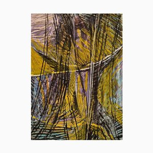 Ivy Lysdal, Gouache on Cardboard, Abstract Modernist Painting, Late 20th-Century