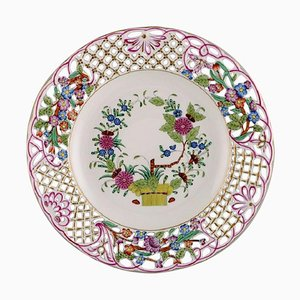 Herend Dinner Plate in Openwork Porcelain with Hand Painted Flowers