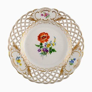 Meissen Plate in Openwork Porcelain with Hand Painted Flowers, 20th-Century