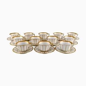 Antike kantige 447 Kaffeetassen mit Untertassen von Royal Copenhagen