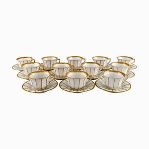 Antique Angular 447 Coffee Cups with Saucers from Royal Copenhagen