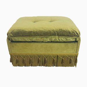 Vintage Hollywood Regency Green Velvet Ottoman, 1970s