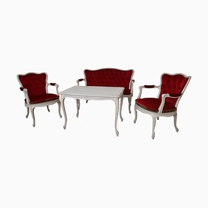 Armchairs, Bench & White Coffee Table, Set of 4