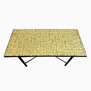 Yellow and Gold Tiled Coffee Table, 1960s