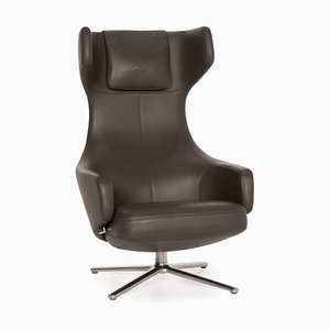 Grand Repos Vitra Gray Leather Lounge Chair