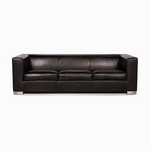 Camin Black Leather Sofa from Wittmann