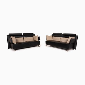 Sera Black Leather Sofa Set from Cor, Set of 2