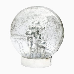 Chrome Table Lamp with Large Smoked Bubble Glass Globe from Doria, 1970s