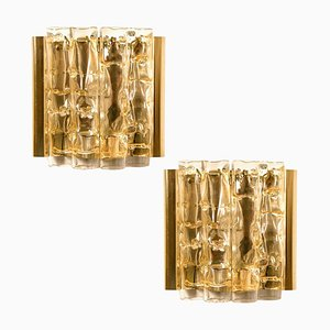 Wall Light in Brass and Glass from Doria, 1960s, Set of 2