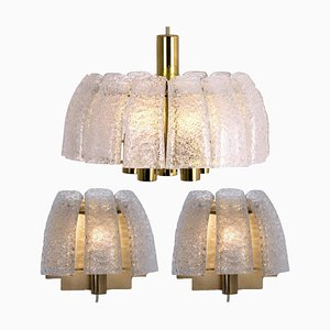 One Chandelier and Two Wall Sconces from Doria, Set of 3