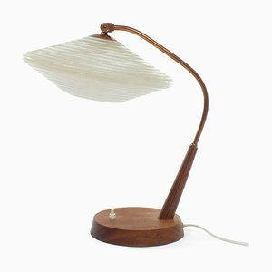 Teak, Glass and Brass Table Lamp